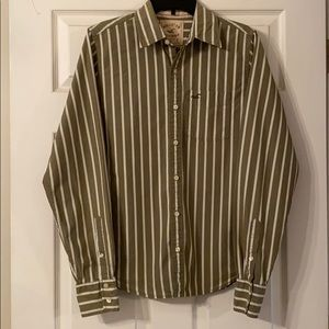 Hollister army green stripe button up. Size Small